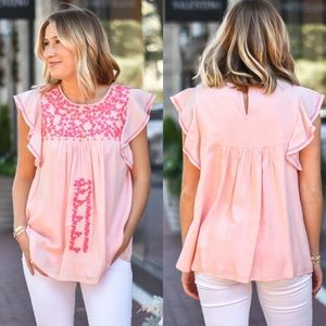 NWT J Marie Pink Embroidered Annie Top